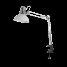 ELMARK Stolná lampa piesok biela a satén nikel uchytenie na klip