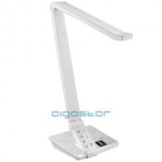 Led stolná lampa 10W ovládanie jasu cez dotykový panel, biela-inox